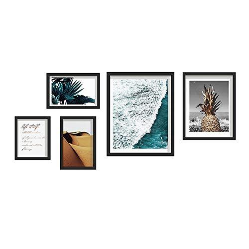 Multi fotolijst Gecombineerde schilderijen, Massief Hout Photo Muurdecoratie Schilderij (155 * 65cm), Een Pack Van 5/zwart