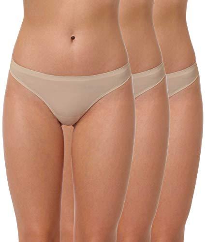 Yenita 3er Pack Damen String Invisible, Tanga ohne Nähte aus Mikrofaser, Haut, Gr. S
