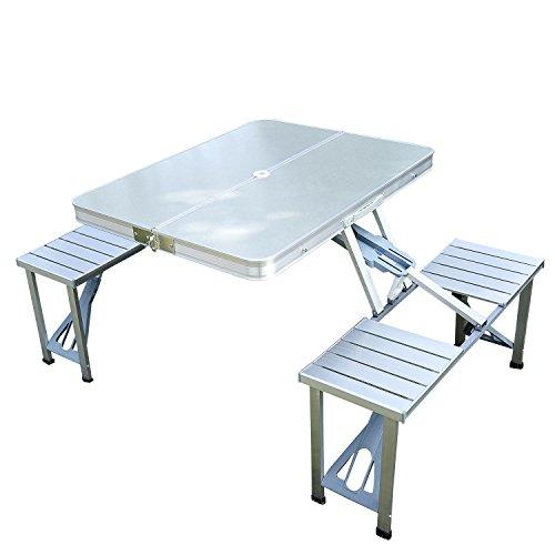 Mesa de picnic plegable para acampada, de acero / aluminio / tablero de fibra de densidad media (DM) con 4sillas