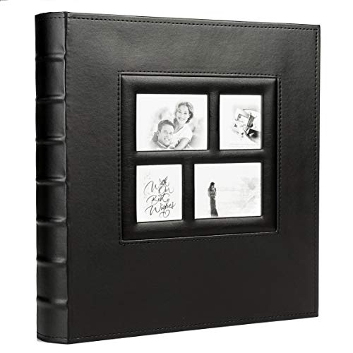 KALOLIA 400 Photo Family Wedding Anniversary Baby Vacation Album Sewn Bonded Leather Book Bound Multi Directional 400 4x6 Photos 5 Per Page Large Capacity (400,Black,Smooth)