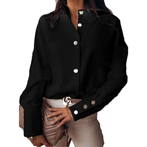 Camiseta Superior de Manga Larga para Mujer, Color slido, Moda, Costura con Volantes, Personalidad, botn Trasero, Camisa Informal M