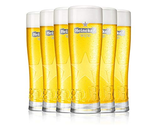 Heineken - Vasos de cerveza (6 unidades, 25 cl, 250 ml), diseño con logotipo gris