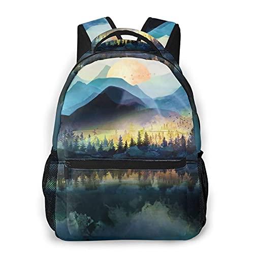 AOOEDM Zaino per uomo donna, borsa a tracolla da viaggio per zaini casual con paesaggio all'alba