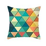 Funda de Cojín Decorativos Funda de Almohada Triángulos geométricos coloridos Cuadrado Terciopelo Suave Cojines Decor con Cremallera Invisible para Sofá Funda de Cojín M7600 Pillowcase+core,50x50cm