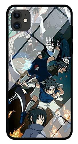 Funda para Teléfono con Cordón Estuche para iPhone con Brillo Nocturno Carcasa de Vidrio Templado 3D Anime Naruto Sasuke Borde Suave Antiarañazos Compatible con iPhone 6