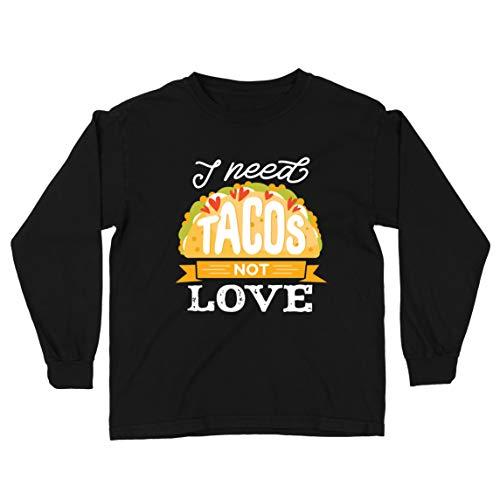 lepni.me Camiseta para Niño/Niña Necesito Tacos No Me Gusta La Comida Mexicana Graciosa Cotización de Comida (7-8 Years Negro Multicolor)