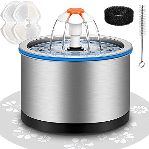 Cat Water Fountain Stainless Steel, 84oz/2.5L Pet Water Fountain with LED Night Light, Automatic Drinking Fountain for Cats, Dogs and Other Pets