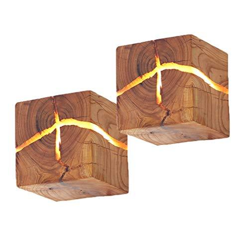 HOIHO Würfel Hölzerne Riss Wand Lampen, 5W Kreativ Wandleuchte Klein Nachtlicht Warmweiß Holz Riss Wandlampe LED Nachttischlampe Gangbeleuchtung Korridor Wandbeleuchtung Innen Dekoration