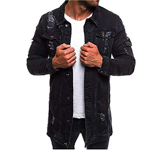 Denim Jacket Men's Long Sleeve Autumn Casual Button Kent Neck Shirt Spring Leisure Tattered Design Denim Shirt Breathable Denim Shirt Casual Comfy Tops XL