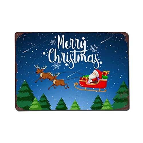 Wendana Vrolijk Kerstmis Kerstman Slee Metalen Tekenen Vintage Look Home Decor Muur Art Tin Teken Metalen Poster 8