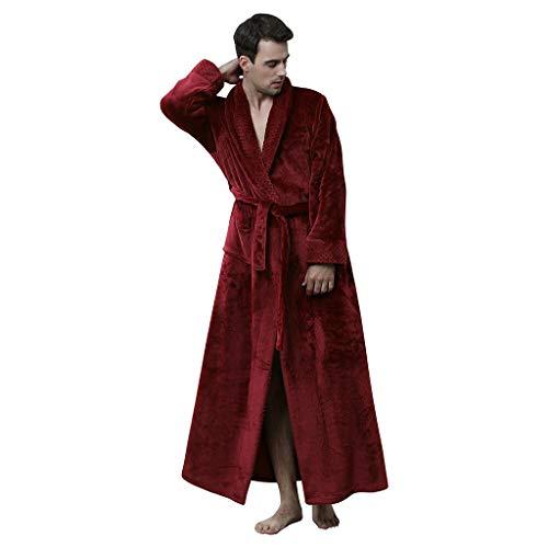 Susenstone Peignoir Femme Velours Robe De Chambre Polaire Femme Chaud ÉPais Long Flanelle Peignoir De Bain Homme Eponge Hiver Longue Pyjama avec Ceintures (M(EU36), Homme-Bordeaux)
