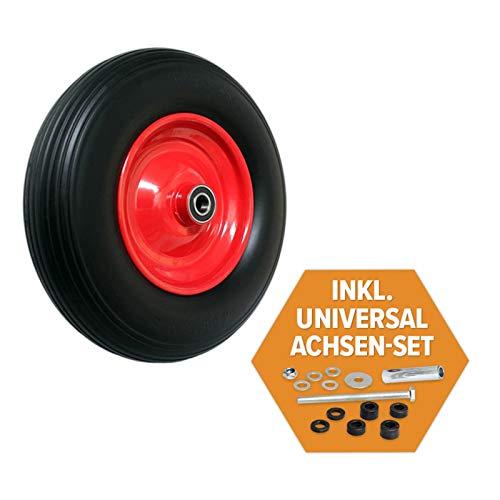 FRONTTOOL Schubkarrenrad pannensicher inkl. Universal Achsen-Set, Vollgummi-Reifen 400 mm mit Präzisions-Kugellager auf Stahlfelge mit 150 kg Traglast