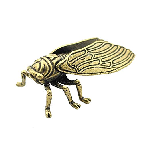 Mini Cute Brass Cicada Statue Ornaments, Vintage Cicada Animal Sculpture, Miniatures Antique Figurines Desk Decoration Toy Gift