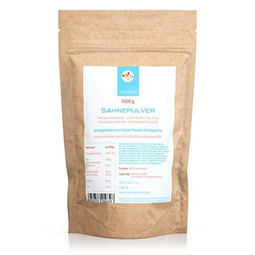 Sahnepulver 1000g - 42% Fett - für Kuchen, Schokolade, Saucen - ohne Zucker - im wiederverschließbaren Standbodenbeutel von Kaona