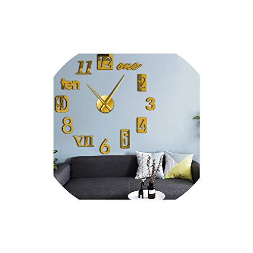 Bert-Collins wall clocks DIY 3D Silencio Reloj Reloj de Auto-Adhesivo del Kit casero de la decoración del estreno de Reloj de Pared Regalo, Oro, 47inch