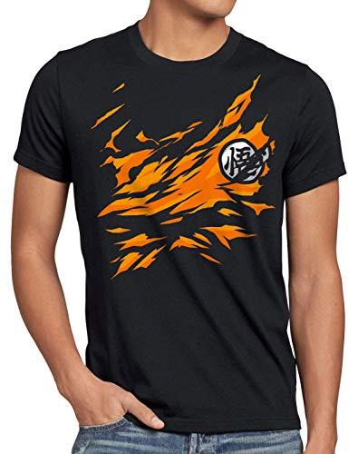 style3 Songoku Pecho Camiseta para Hombre T-Shirt Dragon z Super Saiyan Turtle Ball, Talla:3XL, Color:Negro