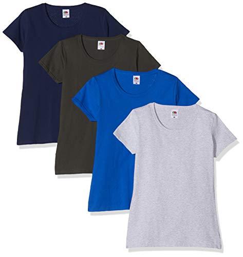 Camiseta de Fruit of the Loom para mujer, ajustada, de distintos colores, de algodón, manga corta Azul azul cobalto Small