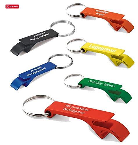creativgravur® Schlüsselanhänger mit Flaschenöffner aus Aluminium inkl. Gravur, Menge:Menge 50 Stück