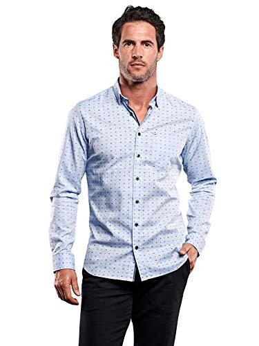 engbers Herren Hemd mit All Over Druck, 28380, Blau in Größe 3XL