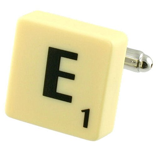 Letra E Scrabble gemelos (compre 2 para un Cuff Links) Seleccione bolsa de regalo