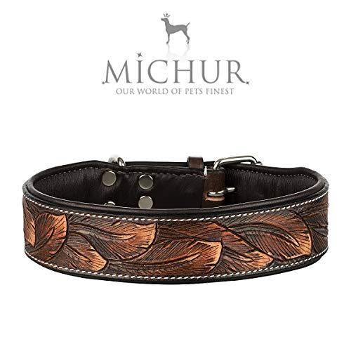 MICHUR Luna Hundehalsband Leder, Lederhalsband Hund, Halsband, Leder, Braun Schwarz Muster, in verschiedenen Größen erhältlich