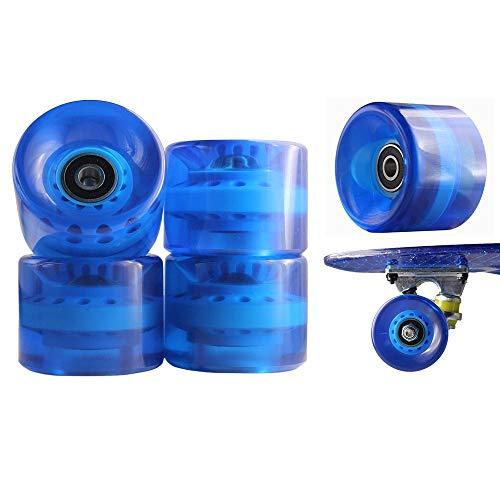 1 Set 4x Rollen für Pennyboard Longboard 82A Softweehls ABEC-7 oder ABEC-9 Retro Skateboard und Mini Cruiser Board mit Kugellager 60x45mm Skate Long Kugellager Rollerblade Profi (ABEC-7, Blau)