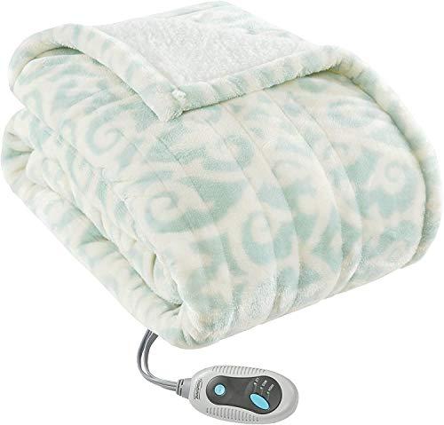 Beautyrest Ultra Soft Sherpa Berber Fleece Electric Poncho Wrap Blanket Heated Throw with Auto Shutoff, 50' W x 64' L, Dusty Blue Lattice