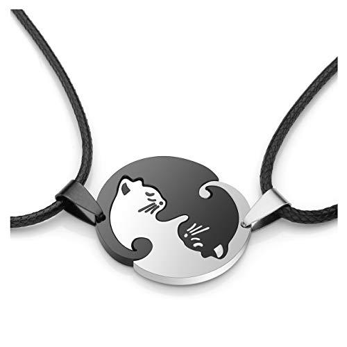 Zysta Edelstahl YinYangKette Freundschaftskette PärchenKette Taichi Fengshui Schwarz Weiß Katzen PuzzleAnhänger Halskette Personalisierte Geschenke (Non-Gravur)