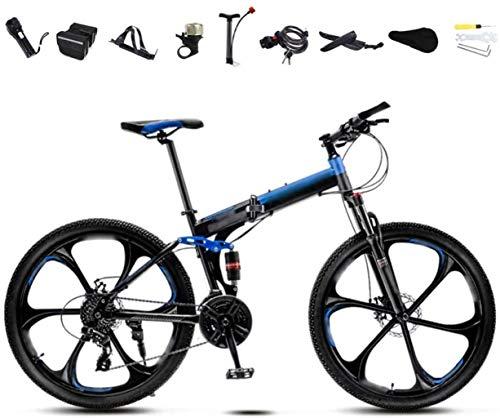 Bicicleta de montaña Bicicletas MTB 24-26 pulgadas de bicicletas, unisex plegable de cercanías bicicletas, 30 velocidad Engranajes de la bicicleta plegable, doble freno de disco / azul / B Rueda / 24'