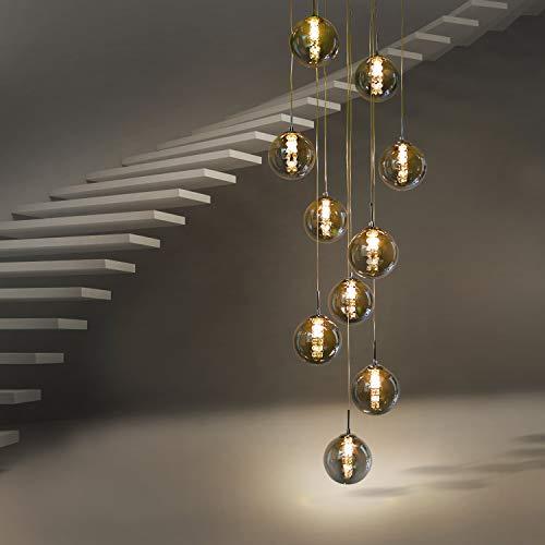 CBJKTX Pendelleuchte esstisch Pendellampe Höheverstellbar Kronleuchter Hängeleuchte 10-Flammig aus Glas Küchen Wohnzimmerlampe Schlafzimmerlampe Flurlampe