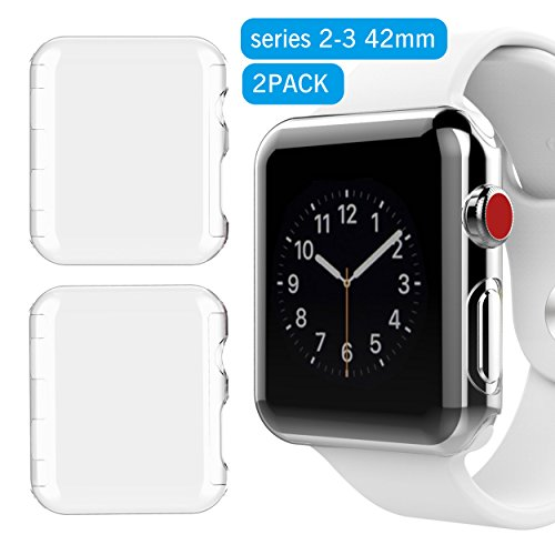 Ailun Screen Protector Compatible Apple Watch 42MM 2 Pack iWatch Case Built in PC Screen Protector All Around Protective Case Clear Ultra Thin Cover for Apple Watch Series 2 and Series 3