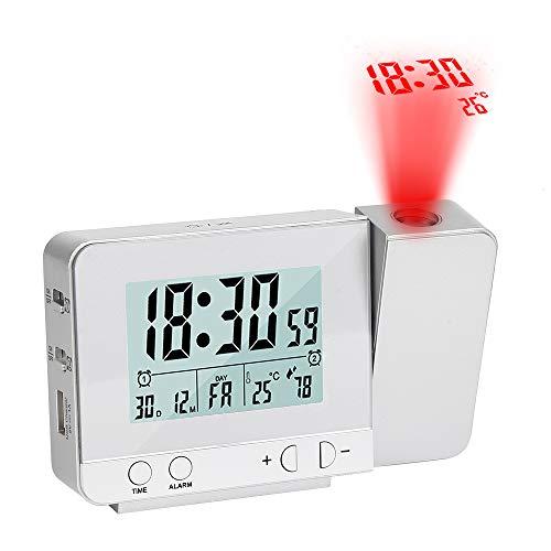 Vegena Wecker mit Projektion,USB-Anschluss Digital Projektionswecker mit Temperatur und Zeit-Projektion/Innentemperatur und Luftfeuchtigkeit/Kalender Silber
