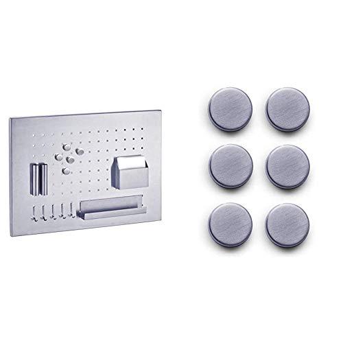 Zeller Memoboard, Edelstahl, Silber, 50 x 35 x 1.5 cm & 11203 Magnet-Set 6-teilig, Ø 2.7 cm, Edelstahl