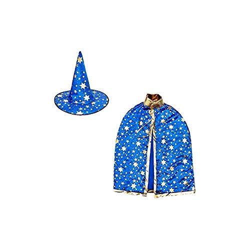 ZZM Hexenhut und Umhang für Kinder, Zauberer Umhang und Hut Gold Stern Halloween Weihnachten Kostüme Cosplay Kostüm für Party Kleinkinder Jungen Mädchen blau