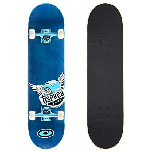 Skateboard completo per tricks double kick Osprey, principianti deck acero...