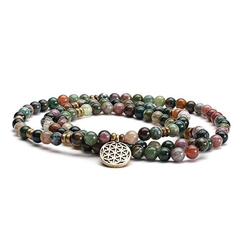 Mala Perlen-Armband, mit mehrfarbigem Achat und Charm'Blume des Lebens' Gr. M, mehr-farbige Perlen in Erdtönen