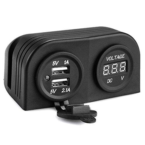 lovelifeast 12 V Chargeur voiture allume cigare double sortie d'alimentation USB Prise étanche PAC SUV avec voltmètre