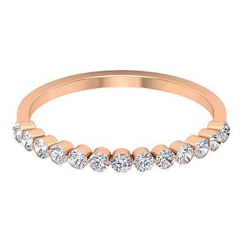 Anillo de eternidad flotante, anillo de diamante redondo de 0,39 quilates, anillo de boda delicado, anillo de media eternidad, anillo de dama de honor apilable, 14K Oro rosa, Size:EU 49