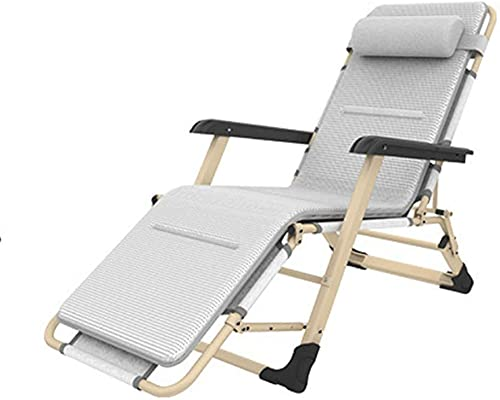 Silla de plegado al aire libre reclinable Silla de cubierta de silla de silla de silla plegable ajustable Silla de cubierta de la silla con reposacabezas Patio transpirable Silla de salón Silla de sil