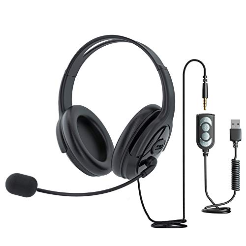 USB Headset Computer Headphone with Microphone Noise Cancelling, Lightweight PC Headset Wired Headphones, Comfort-fit Office Headset for Skype, Webinar, Cell Phone, Call Center Right/Left Ear,