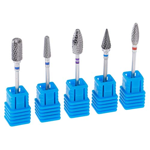Baosity 5x Carbide Nail Art Bits Pro Salon Files Bit for Grinding Polishing Cleaning