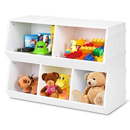 Giantex Kids Toy Storage Bins Children Collection Shelf Multi-Bin Storage Cubby Bin Storage Organizer with 5 Storages for Nursery, Playroom, Closet, Home Organization Toy Shelf Organizer, White (1)