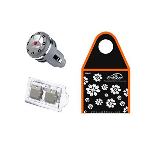 AMBICAR - Ambientador eléctrico para COCHE. Pack Insilver Nº4 (Difusor+Recambio ELEGANCE + Bolsa Ecológica) Esencia Natural, SIN Alcohol ni Químicos. Fragancia de jazmín + bolsita para guardar cosas