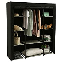 PORTABLE CLOTHES CLOSET WITH STURDY STRUCTURE:Made of selected powder-coated metal tubes, non-woven fabric cover,water-proof fabric tiers,and plastic connectors.The diameter of metal tubes is strengthened to 16mm to enable this protable closet wardro...