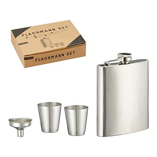 Cepewa Flachmann Set 4tlg. ca. 18 ml edel Schnapsflasche Trinkflasche Taschenflasche