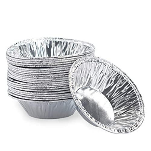 QULONG Moldes de pastelería de Galletas de Cocina 100 Piezas Tazas de Pastel de Huevo Desechables Moldes de Tarta de Huevo de Papel de Aluminio Molde de Galleta de Pastel Herramienta para Hornear T