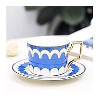 コーヒーカップ&ソーサーセット、セラミックコーヒーカップアフタヌーンティーカップは、カップドリンク250ML (色 : NianYu Blue)