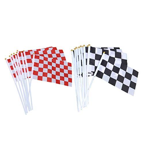 STOBOK 20 stücke Checkered Racing Fahnen mit Stick Mini Hand Race Car Fahnen Race Car Party Dekorationen Liefert Festival Veranstaltungen Feier (schwarz & weiß, rot & weiß)