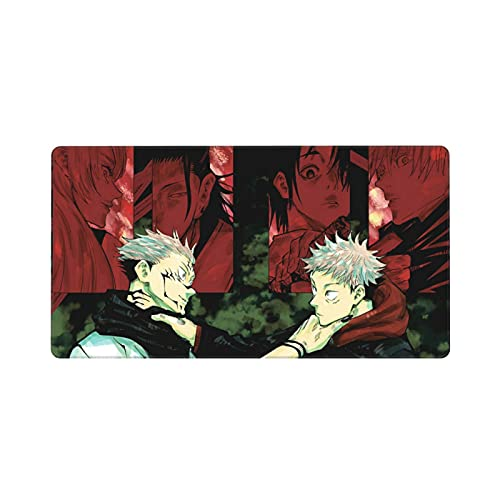 Jujutsu Kaisen Custom Made Anime Mouse Pad 15.8x29.5 Inch (40cmx75cm) Large Non-Slip Gaming Mouse Pad Rubber Stitched Edges Desk Mat for Office Home & Gamer Bord de verrouillage Clavier-Black 16