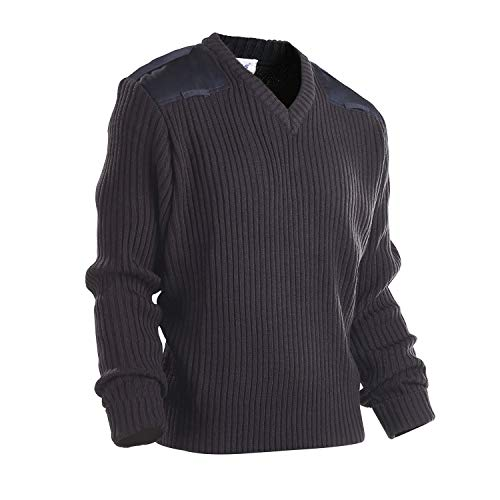 Galls Men's V-Neck Acrylic Commando Sweater with Shoulder & Elbow Patches Navy